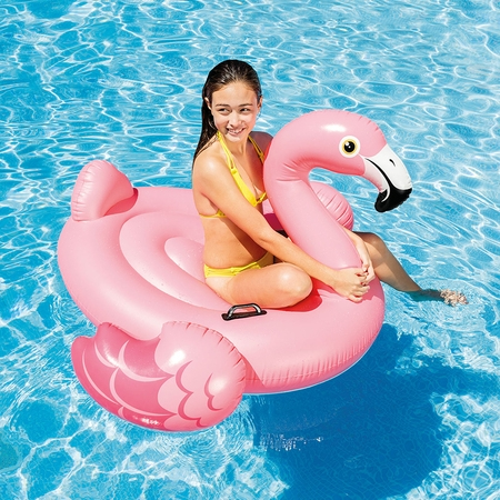 "Intex Inflatable Flamingo Ride On Pool Float 56"" x 54"" x 38"" Only $9.99"