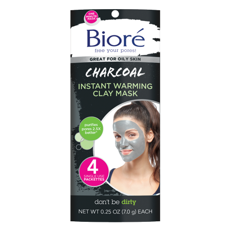 Biore Charcoal Instant Warming Clay Mask (4 Count) - Famous People Face Masks