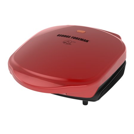 George Foreman 2-Serving Classic Plate Electric Indoor Grill and Panini Press, Red,