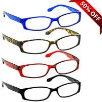 Reading Glasses +1.50 | 4 Pack of Readers for Men and Women | Black Tortoise Red Blue