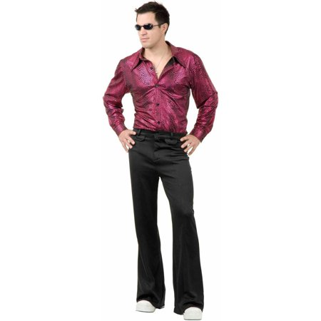 Disco Chick Costume (Disco Shirt Liquid Red and Black Men's Adult Halloween)