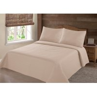 MODREN COLLECTION 1900 COUNT TWIN NENA TAUPE TAN SOLID CLOSOUT QUILT BEDDING BEDSPREAD COVERLET PILLOW CASES SET