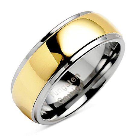 Tungsten Rings For Men Women Wedding Band Polished Facet Cut Gold Step Edge Sizes 8-16