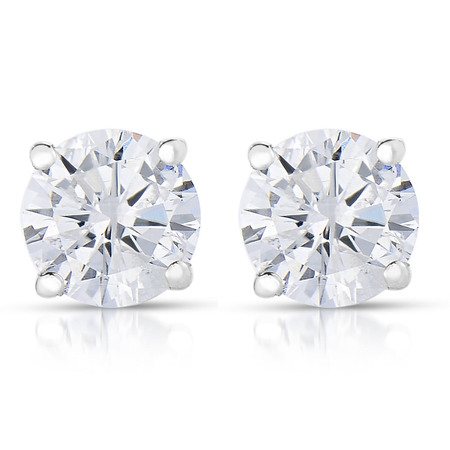 Vir Jewels 1/4 cttw (I2-I3 Clarity, K-M Color) Round Diamond Stud Earrings 14K White Gold ()