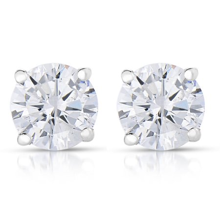 Vir Jewels 1/4 cttw (I2-I3 Clarity, K-M Color) Round Diamond Stud Earrings 14K White Gold Bezel Setting Diamond Stud Earring