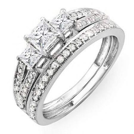 1.00 Carat (ctw) 14k Gold Princess Cut 3 Stone Diamond Ladies Engagement Bridal Ring Set Matching Band 1