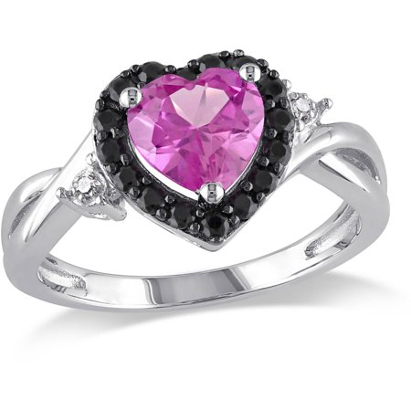 1-7/8 Carat T.G.W. Created Pink Sapphire, Black Spinel and Diamond-Accent Sterling Silver Heart