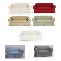 All Cotton Brushed Twill 2-piece Cushion Couch Sofa Loveseat Armchair Slipcover