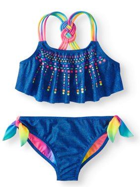 Girls' Rainbow Puff Print Flounce Bikini Swimsuit