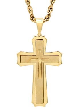 """Men's Gold-Tone Stainless Steel Stacked Cross with 24"""" Rope Chain - Mens Pendant"""
