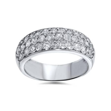 1 1/2ct Pave Diamond Wedding Anniversary 14K White Gold Womens Wide Band ()