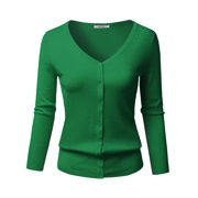 8addfae8c22bab FashionOutfit Women's Solid Button Down V-Neck 3/4 Sleeves Knit Cardigan
