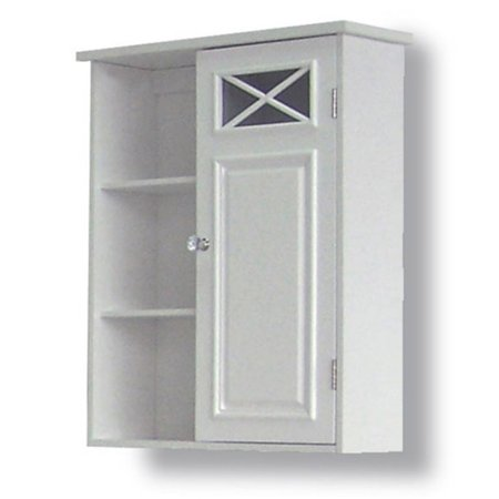 Prairie Wall Cabinet With Side Shelves And Door White