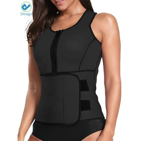 Deago Womens Neoprene Sauna Suit Waist Trainer Zipper Vest with Adjustable Waist Trimmer Belt Body Shaper (Microfiber Shaper)