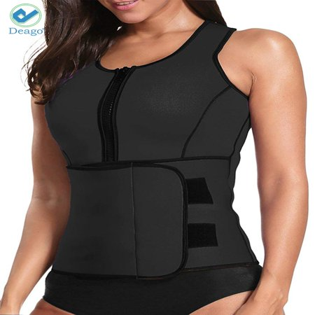 Deago Womens Neoprene Sauna Suit Waist Trainer Zipper Vest with Adjustable Waist Trimmer Belt Body Shaper