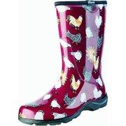 231151686 Sloggers Women s Rain   Garden Boots - Barn Red Chicken Print