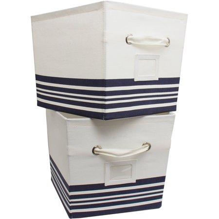 Mainstays Large Canvas Bins 2 Pack Nautical Stripe - Nautical Box