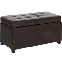 Best Choice Products Tufted Leather Storage Ottoman Bench Footrest for Home, Living Room w/ Lift Open Lid, Child Safety Hinge, and 440lb Capacity - Brown