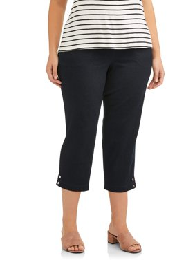 Just My Size Women's Plus-Size 2-Pocket Crop with Snaps