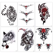 8ab09e87d4606 Lady Up 6 Sheets Temp Body Art Temporary Tattoos Fake Tattoo for Women Men  Kid Skull