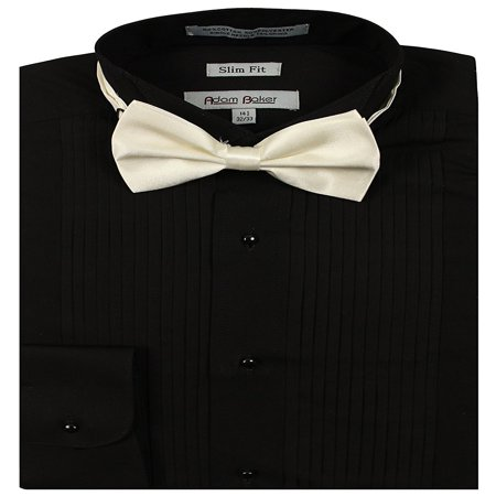 Adam Baker Men's 1943 Wingtip Collar Slim Fit Formal Tuxedo Shirt - Black - 14.5 2-3 (Classic Wingtip Tuxedo Shirt)
