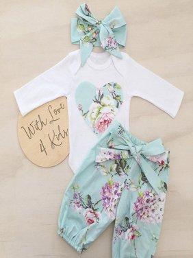 Newborn Kid Baby Girl Floral Clothes Jumpsuit Romper Bodysuit Pants Outfit Set Y
