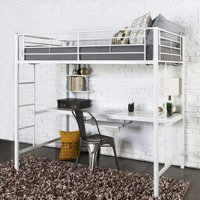 Walker Edison Premium Metal Twin Loft Bed with Workstation- White