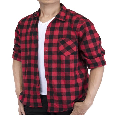 LELINTA Men's Long Sleeve Plaid Shirt Flannel Plaid Shirt Mens Casual Button-down Shirts Workshirt Red Black - Long Flannel Skirt