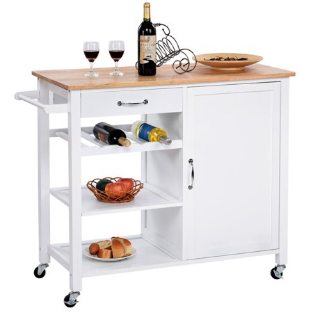 Kitchen Islands Trolleys - Gymax 4-Tier Wood Kitchen Trolley Cart Island Storage Cabinet Shelf Drawer W/Casters