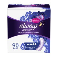 Always Discreet Incontinence Pads for Women, Extra Heavy Absorbency, Long Length, 90 Count