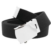 812ab73cda56 Men s Classic Silver Slider Military Belt Buckle with Canvas Web Belt Small  Black