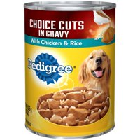 (12 Pack) PEDIGREE CHOICE CUTS in Gravy Chicken & Rice Flavor Adult Canned Wet Dog Food, 22 oz. Can