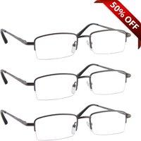 Reading Glasses +1.50 | 3 Pack of Readers for Men and Women | 3 Gunmetal