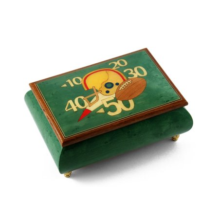 Sports Theme Wood Inlay: Football - Collectible 18 Note Musical Jewelry Box - Ail My Loving