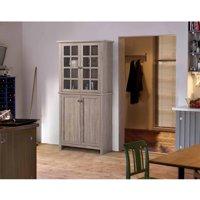 Homestar 2-Door Glass Storage Cabinet, Reclaimed Wood