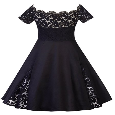 50s Themed Clothing (Plus Size Women Vintage Off Shoulder Lace Dress Short Sleeve Retro 50s 60s Rockabilly Evening Party Swing Prom)