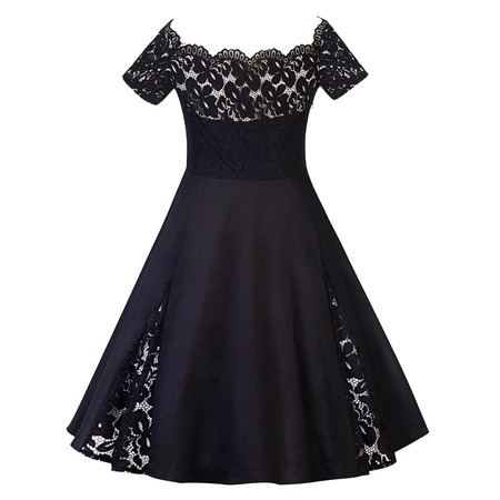 Plus Size Women Vintage Off Shoulder Lace Dress Short Sleeve Retro 50s 60s Rockabilly Evening Party Swing Prom Dresses - 50s Party