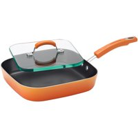Rachael Ray Porcelain Aluminum Nonstick 11-Inch Square Deep Griddle and Glass Press, Orange Gradient