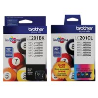 Brother Genuine LC201BK, LC201C, LC201M, LC201Y Ink Cartridge 4-Color Set -- Black, Cyan, Magenta, Yellow