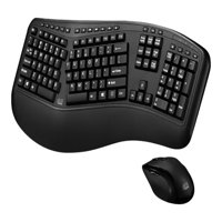 Adesso 2.4GHZ Ergonomic Wireless Keyboard and Laser Mouse