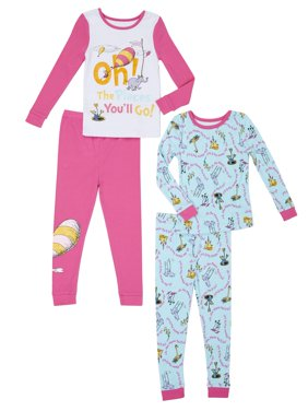 Oh, The Places You'll Go Long Sleeve Top & Pants Pajamas, 4pc Set (Toddler Girls)
