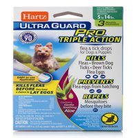Hartz UltraGuard Pro with Aloe Flea and Tick Drops for Dogs 5-14LBS, 3 Monthly Treatments