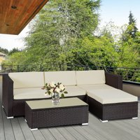 Costway 5 PCS Patio Furniture Set Rattan Wicker Table Shelf Garden Sofa W/ Cushion Brown