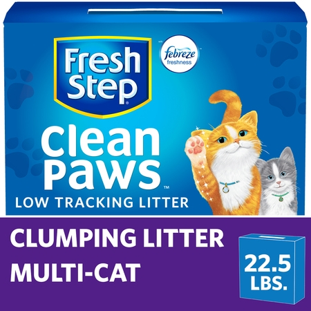 Fresh Step Clean Paws Multi-Cat Scented Litter with the Power of Febreze, Clumping Cat Litter, 22.5 Pounds
