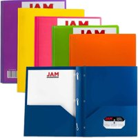 JAM Paper Plastic 2 Pocket School POP Folders with Metal Prongs Fastener Clasps, Assorted Primary Colors, 6/pack
