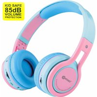 Contixo Kid Safe 85db Over the Ear Foldable Wireless Bluetooth Headphone w/ Volume Limiter, Built-in Micro Phone, Micro SD card Music Player, FM Stereo Radio, Audio Input & Output (Blue + Yellow)