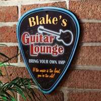 Personalized Guitar Lounge Guitar Pick Sign