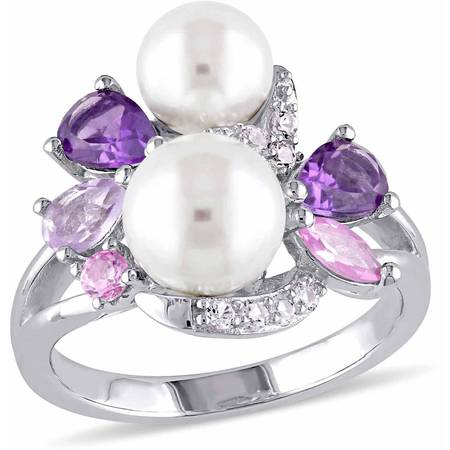6.5-7mm, 7.5-8mm White Round Cultured Freshwater White Pearl with 1-3/8 Carat T.G.W. Amethyst, Rose de France, Created Rose and White Sapphire Sterling Silver Link Ring (Mother Of Pearl Sapphire Ring)