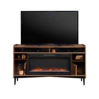 "Better Homes & Gardens Montclair Entertainment Fireplace Credenza for most 60"" Flatscreen TVs up to 70 lbs Vintage Walnut Finish"