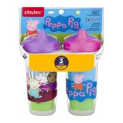 Playtex Sipsters Stage 3 Peppa Pig Spill-Proof, Leak-Proof, Break-Proof Insulated Toddler Spout Sippy Cup - 9 Ounce - 2 Count (Color/Theme May Vary)